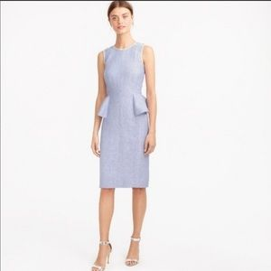 J. Crew French Blue Linen Peplum Dress 6P